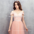 2017 pink color one shoulder evening dress A-line floor length price wedding dress