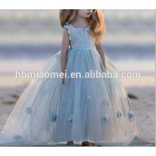2017 heißer Verkauf Hohe Qualität Elegante Puffy Ballkleid Festzug Kleider für Kleine Mädchen Bodenlangen mit Blumen Criss Kreuz Zurück