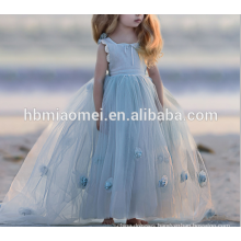 2017 Hot Sale High Quality Elegant Puffy Ball Gown Pageant Dresses for Little Girls Floor Length with Flowers Criss Cross Back
