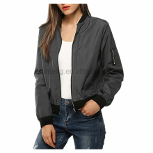 Fashion style plain black Casual Flight jackets