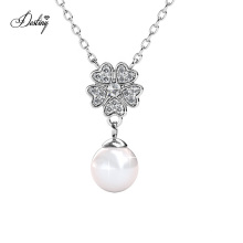 Premium Austrian Crystal Jewelry Tiny Heart Floral Pearl Pendant Necklace for Women