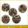 Perlas de aleación de Zinc europeo diseño hueco agujero grande para pulseras y collar