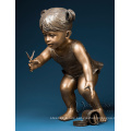 contemporary outdoor sculpture metal craft life size boy bronze statue children