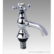 Brass Chrome Plated Antique Faucet For Basin With Long Bibcock And Cross Zinc Handle