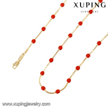 43076- Xuping Atacado New Gold Chain Necklace Red Beaded Jóias