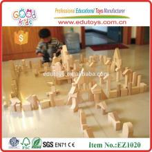 EZ1020 Gummi Holz Kreative Kinder Wooden Unit Block in 224pcs