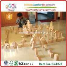EZ1020 de madera de goma de madera de los niños creativos bloque de la unidad en 224pcs