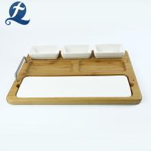 Plato de cerámica multifunción para el hogar con plato de madera