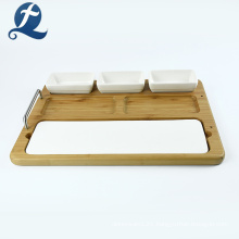 Home Multifunction Ceramic Plate With Wooden Dish