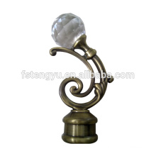 Wholesale iron curtain rod with fancy crystal curtain finials, curtain accessories