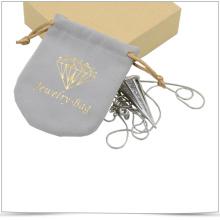 Bolsa de joyería de microfibra con cordón de doble lado