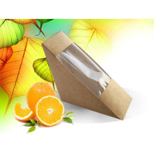 Papier-Kraft-Dreieck-Wegwerfsandwich-Kasten, lamellierter Papierkasten Nahrungsmittelbehälter / Sandwich-Kasten