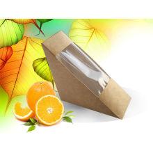 Caixa descartável do sanduíche do triângulo de papel de Kraft, recipiente de alimento laminado da caixa de papel / caixa do sanduíche