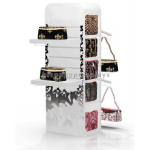 Custom Brand Shop Free Standing 4-Way Advertising Wholesale Hanging Gift Bag Hand Bag Display Stand