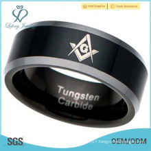 Men's Tungsten Carbide Ring Mason Freemason Masonic black plated