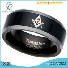 Мужское кольцо из карбида вольфрама Мейсон Масон Масонская черная галька