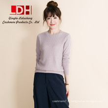 2017 Nouveau personnalisé hiver chaud col rond doux pull en cachemire court pull tricoté dames