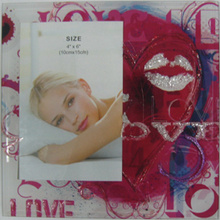 Red Silk Screen Glass Photo Frame