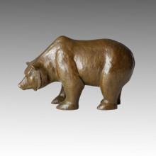 Statue en laiton animal Statue d'ours Artisanat Bronze Sculpture Tpal-140