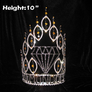10in Height Crystal Diamond Shaped Wholesale Crowns