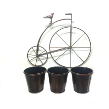 Décoration murale Bird Riding Bike Metal Flowerpot for Garden