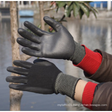 NMSAFETY hand care industrial PU coated black gloves