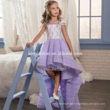 Lila Tüll ärmellose Spitze Blumenmädchenkleider kurze vordere lange zurück Ballkleid für Mädchen kleine Mädchen Pageant Kleider