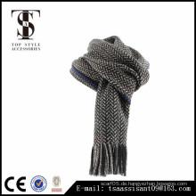 Männer schwarzer Schal Acryl Schal Winter Schal