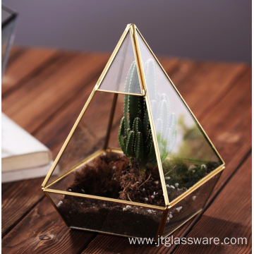 Succulent Geometric Glass Terrarium for Gold Wedding