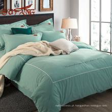 Vê-lo novamente Conjuntos românticos da folha de cama do algodão de Pima do verde da hortelã com projetos da forma