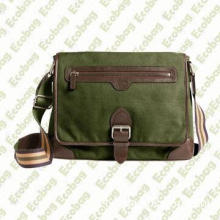 Washed Canvas and Leather Buckle Messenger Bag