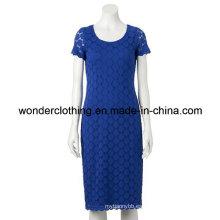 Vestido de noche de encaje de las mujeres atractivas del verano de moda cuello redondo