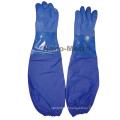 NMSAFETY Interlock forro azul pvc luvas de trabalho luvas de segurança de PVC resistente ao óleo luvas longas