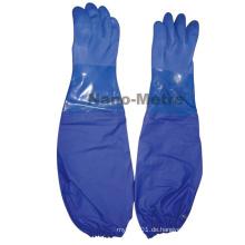 NMSAFETY Interlock Liner blau pvc Arbeitshandschuhe ölbeständige PVC-Sicherheitshandschuhe lange Manschette