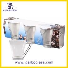 6oz taza de vidrio barata con mango de metal