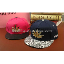Custom golden leaf print visor snapback cap with high quality