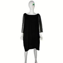 Vestido de alta costura 2016 vestido flojo transpirable con mangas Georgette vestido