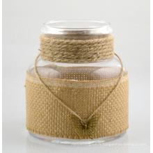Grand vase en verre avec corde en coton