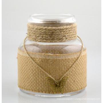 Большая стеклянная ваза с веревкой из хлопка