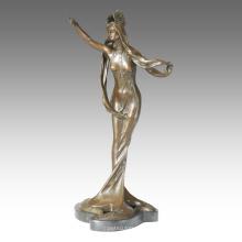 Tänzerfigur Statue Langhaar Lady Bronze Skulptur TPE-066