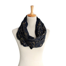 Women′s Gold Siver Foil Printing Spring Autumn Summer Woven Scaf Snood Loop (SW133)
