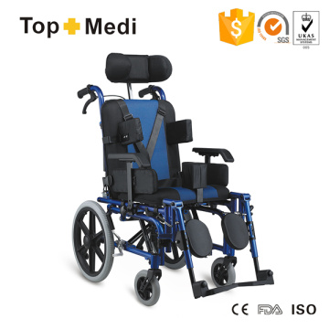 Silla de ruedas reclinable con respaldo alto Topmedi para niños con parálisis cerebral