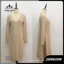 Frauen V-Ausschnitt Side Slit Long Pullover