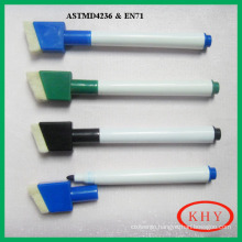 High quality colored ink dry erase marker with magnet and brush