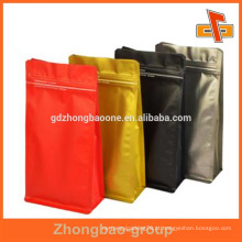 Impressão em cores de plástico ziplock saco de alumínio com fundo do bloco