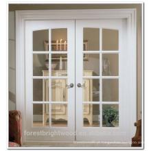 Cor branca interior duplo francês portas de madeira