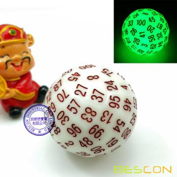 Bescon Super Jade Glow in Dark Polyhedral Dice 100 Sides, Luminous D100 die, 100 Sided Cube, Glowing D100 Game Dice