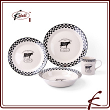 Ivory glaze stone ware dinner with decal pattern