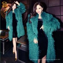 Genuine Mongolian Fur Green Color Long Fur Coat Real Tibet Lamb Fur Coat
