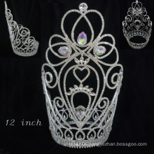 chinese hair accessories tall pageant tiara crown for women